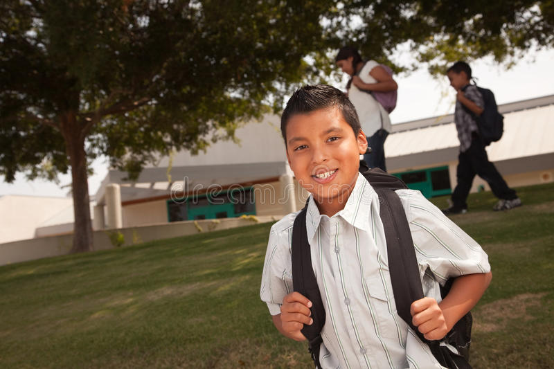 Happy Young Hispanic Boy Ready for School stock image