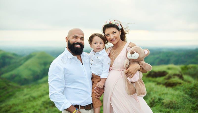 Happy young hispanic family royalty free stock photo