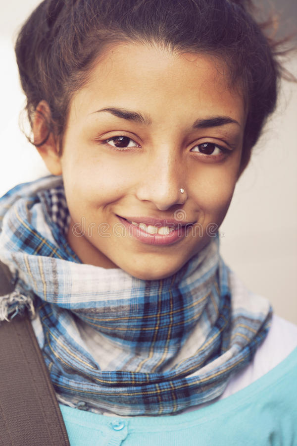Happy young indian woman stock photo