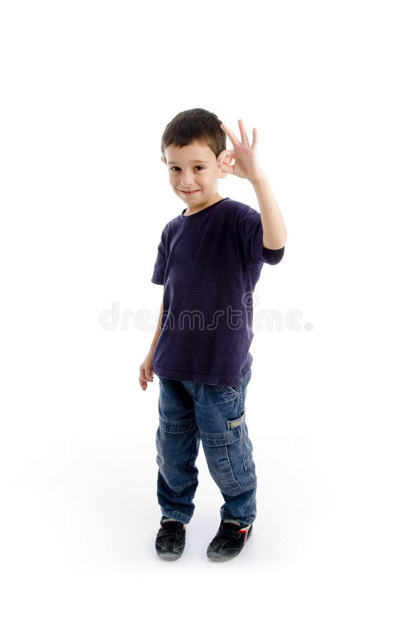 Download Happy Young Kid With Okay Sign Gesture Stock Photo - Image: 7418182