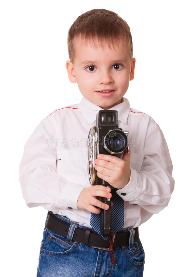 Happy young videograph royalty free stock images