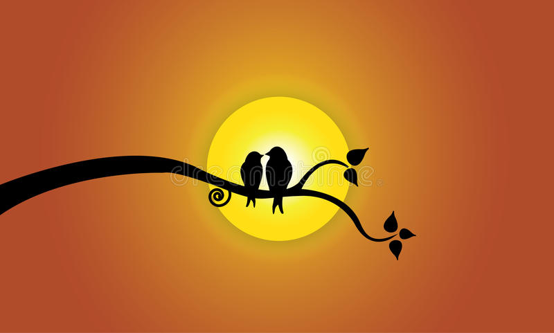 Happy Young Love Birds On Tree Branch During Sunse Stock