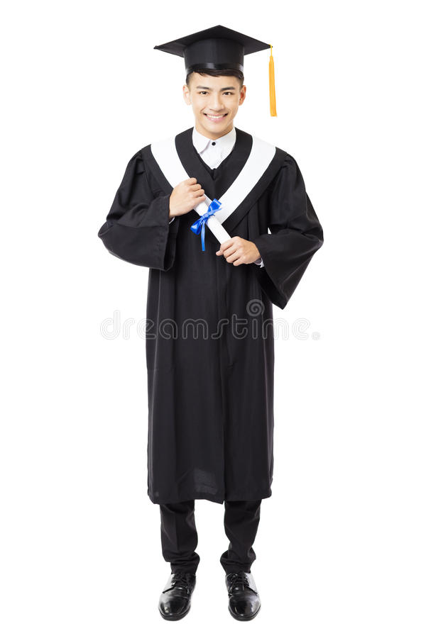 Happy young male college graduation stock photo