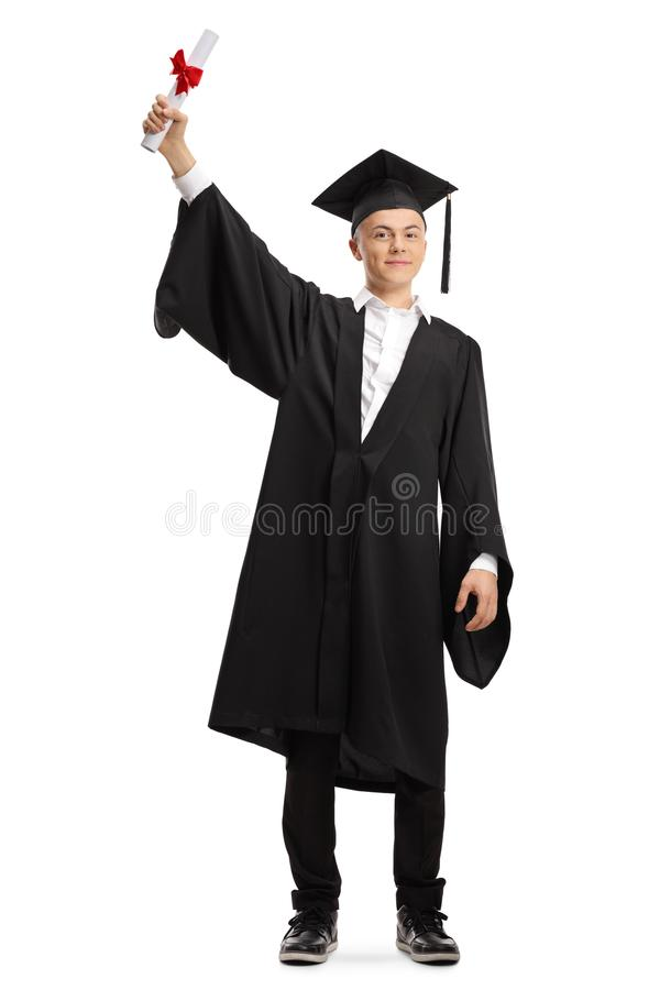 Happy young male graduate student holding a diploma royalty free stock images