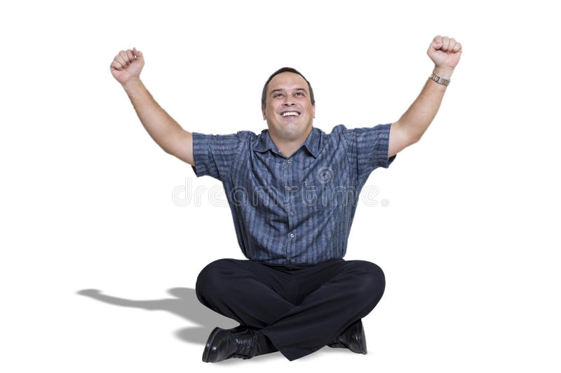 Happy Young Man With Arms Up In Celebration stock images