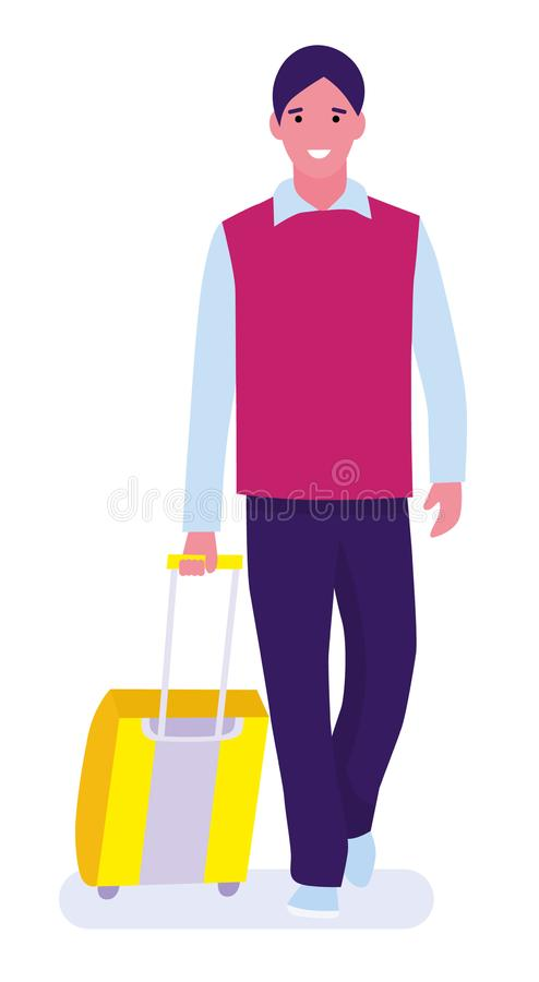 Happy young man arrived from trip. He is walking from airport with luggage and smiling. White background. Vector stock illustration