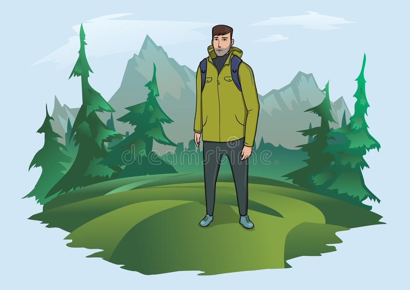 Man with backpack on the background of the mountain landscape. Mountain tourism, hiking, active outdoor recreation. Happy young man with backpack on the royalty free illustration