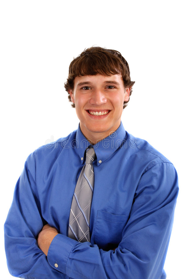 Happy Young Man With Blue Shirt And Tie Stock Photography