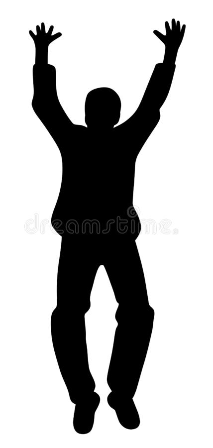Happy young man celebrating victory. Illustration of a happy young man celebrating success victory. Isolated white background. EPS file available stock illustration