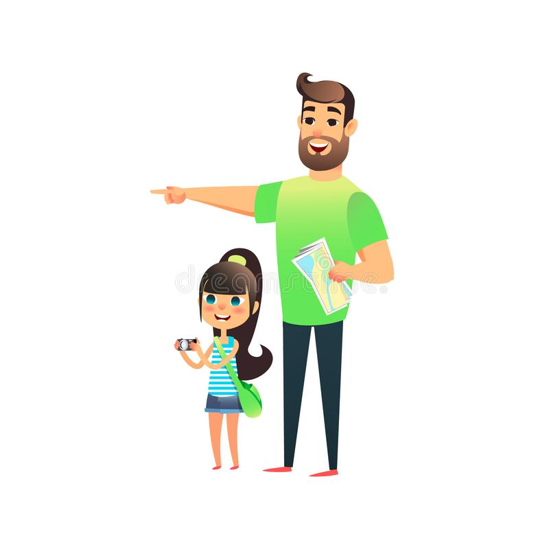 Happy young man and cute smiling girl travel and attractions. Father and daughter travel togewer. Little child photographed landma stock illustration