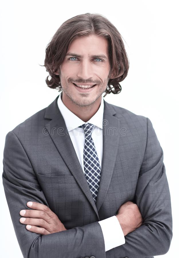 Happy young man with dark hair wearing an elegant suit stock photo