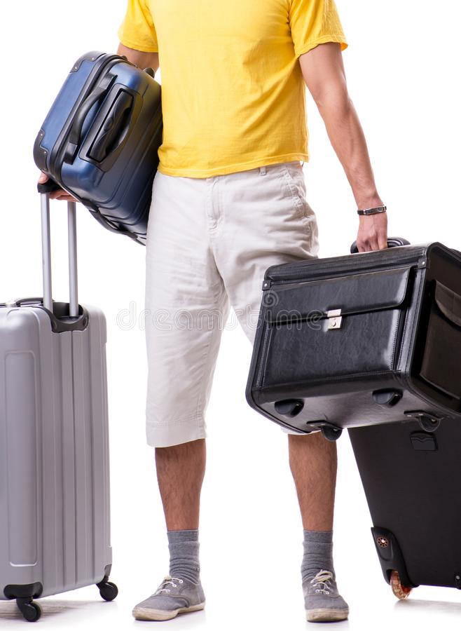 Happy young man going on summer vacation isolated on white stock photography