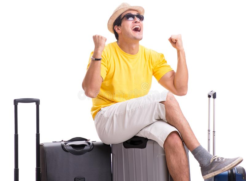 Happy young man going on summer vacation isolated on white royalty free stock images