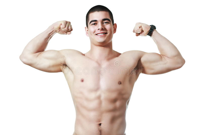 Happy young man in good shape stock photography