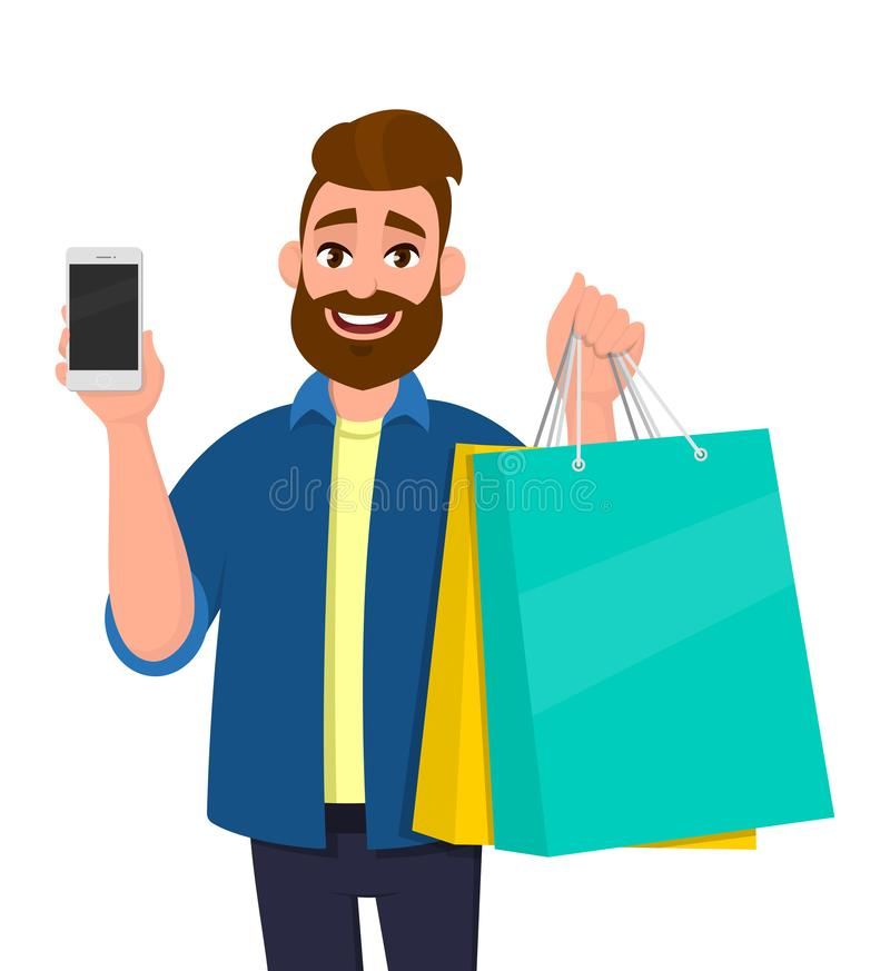 Happy young man holding shopping bags. Male character carrying colourful bags. Person showing cell, mobile or smartphone in hand. stock illustration