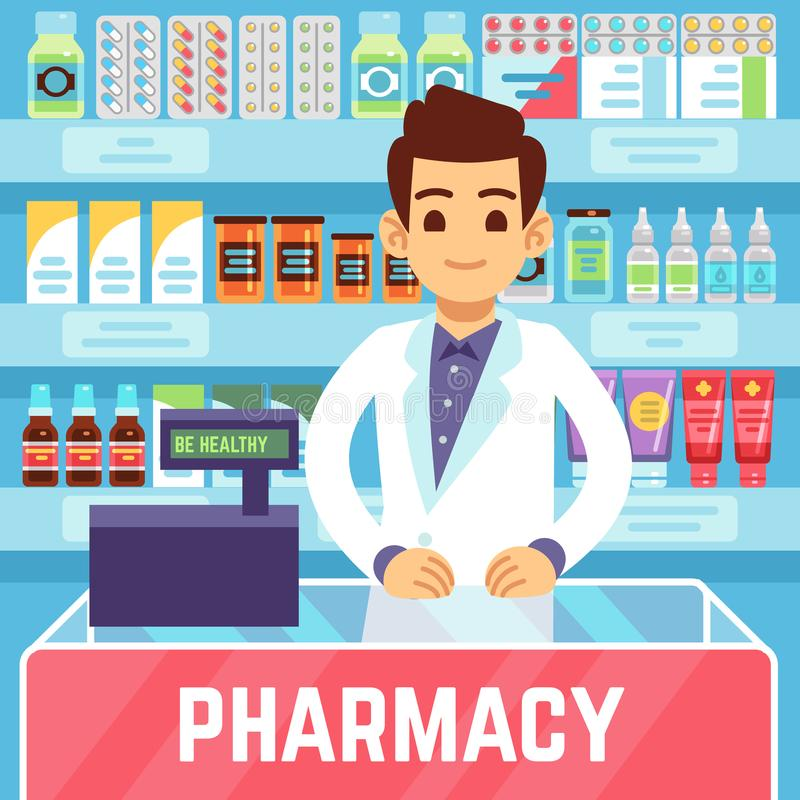 Happy young man pharmacist sells medications in pharmacy or drugstore. Pharmacology and healthcare vector concept. Illustration of medicine and health store royalty free illustration
