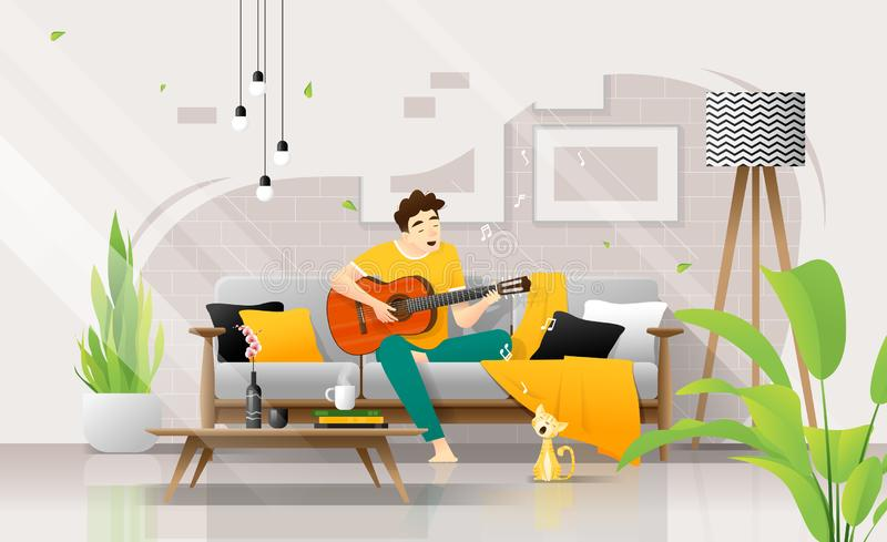 Happy young man playing guitar on sofa in living room, relaxing weekend at home stock illustration