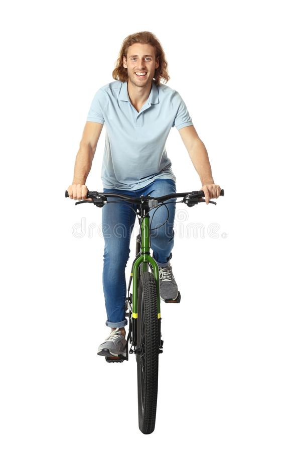 Free Happy Young Man Riding Bicycle On Background Stock Images - 160772484