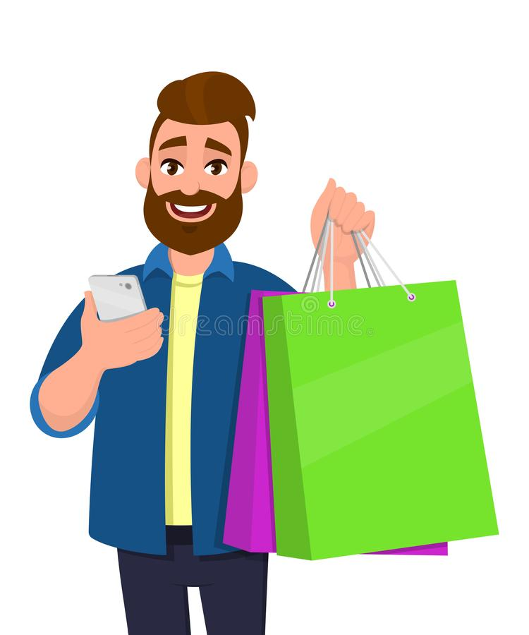Happy young man showing shopping bags. Person holding a mobile, cell, smart phone in hand. Modern lifestyle, digital technology. royalty free illustration