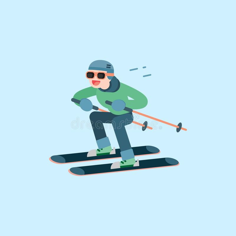 Happy young man skiing, Winter sports concept, vector cartoon il royalty free illustration