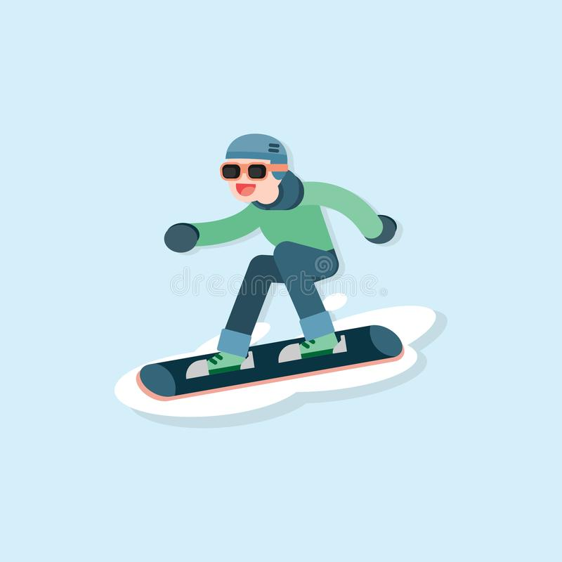 Happy young man skiing, Winter sports concept, vector cartoon il vector illustration