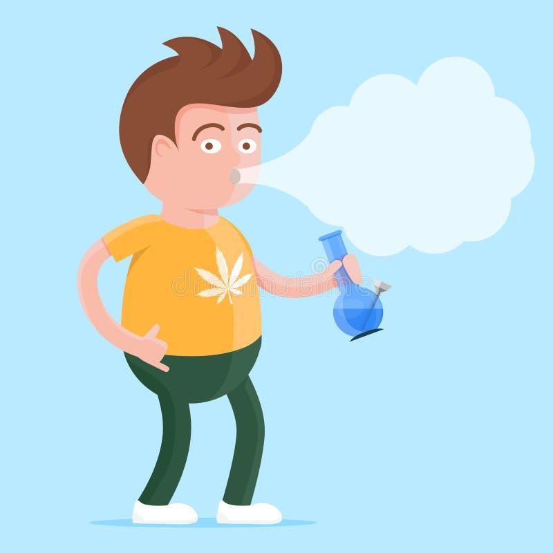 Marijuana Cartoon Character Smoking A Joint Stock Vector