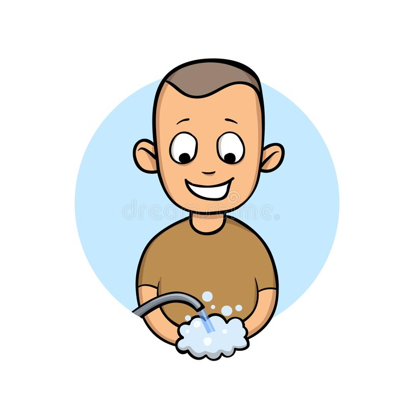 Happy young man washing hands. Smiled boy, vector cartoon illustration, isolated on white. Happy young man washing hands. Smiled boy, vector cartoon royalty free illustration