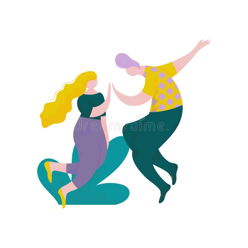 Happy Young Man and Woman Giving High Five to Each Other Outdoors, Human Interaction, Friendship, Teamwork, Cooperation stock illustration