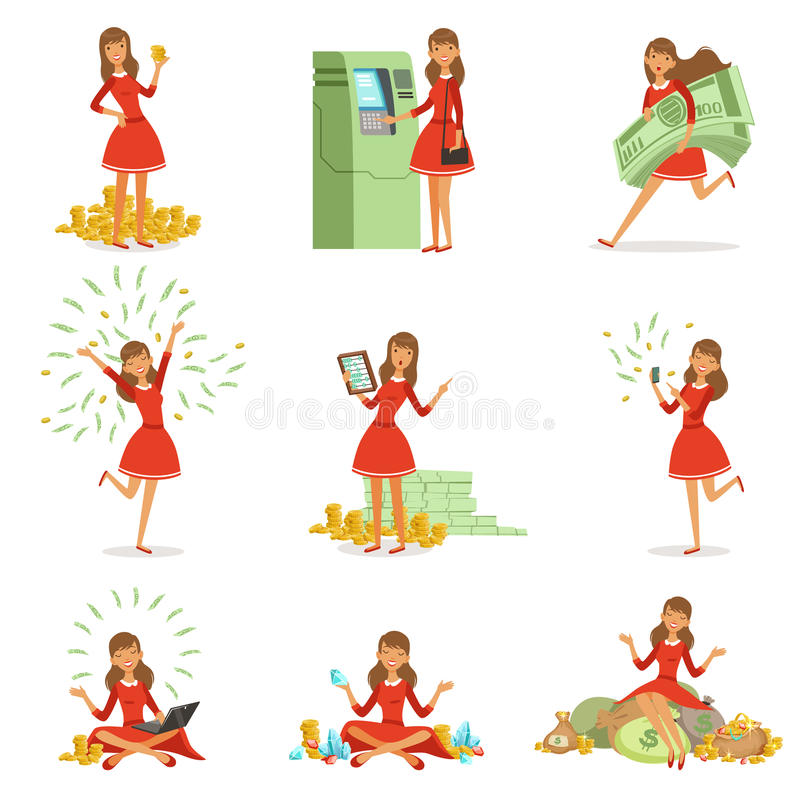Happy young millionaire woman in a red dress enjoying her money and wealth, set of colorful detailed vector royalty free illustration