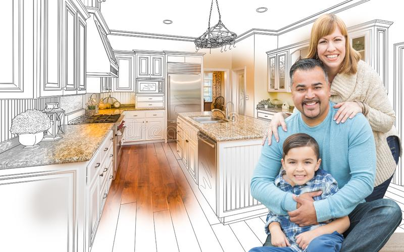 Young Mixed Race Family Over Kitchen Drawing with Photo Combination. Happy Young Mixed Race Family Over Kitchen Drawing with Photo Combination stock illustration