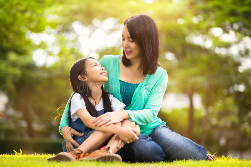 Happy young mother with her daughter stock photography