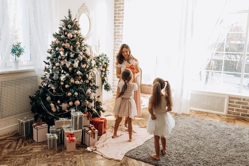 Happy young mother and her two charming daughter in nice dresses royalty free stock image