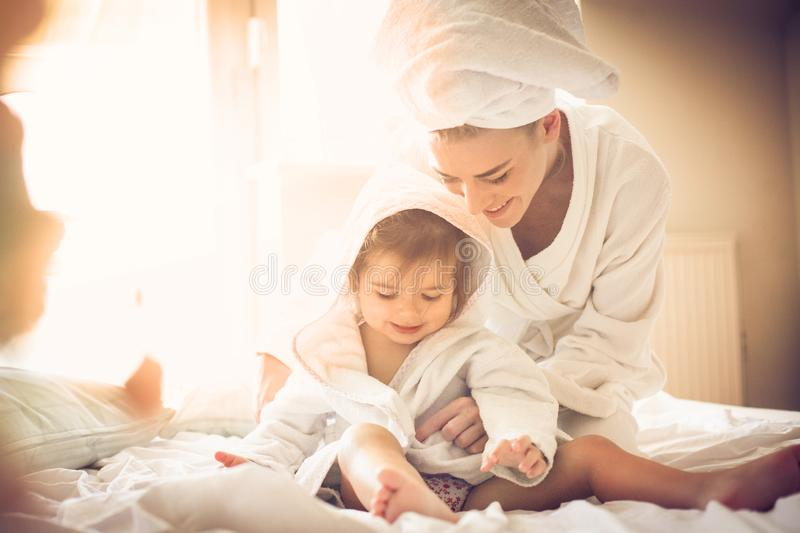 Morning play. Mother and daughter. royalty free stock photo