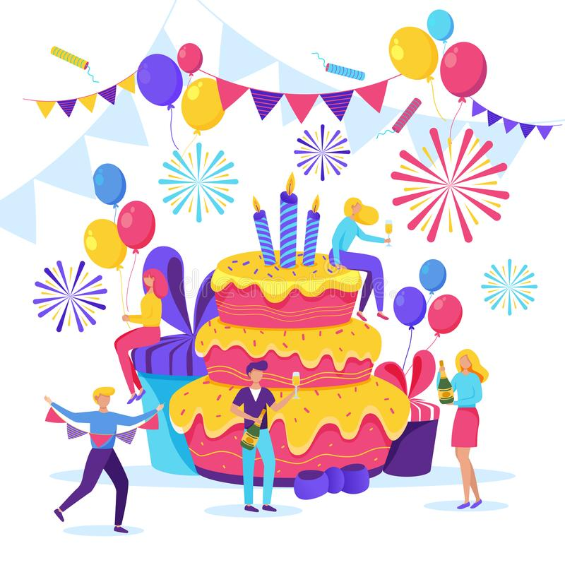 Happy young people celebrating a birthday. Vector flat cartoon illustration. Men and women have a fun party stock illustration