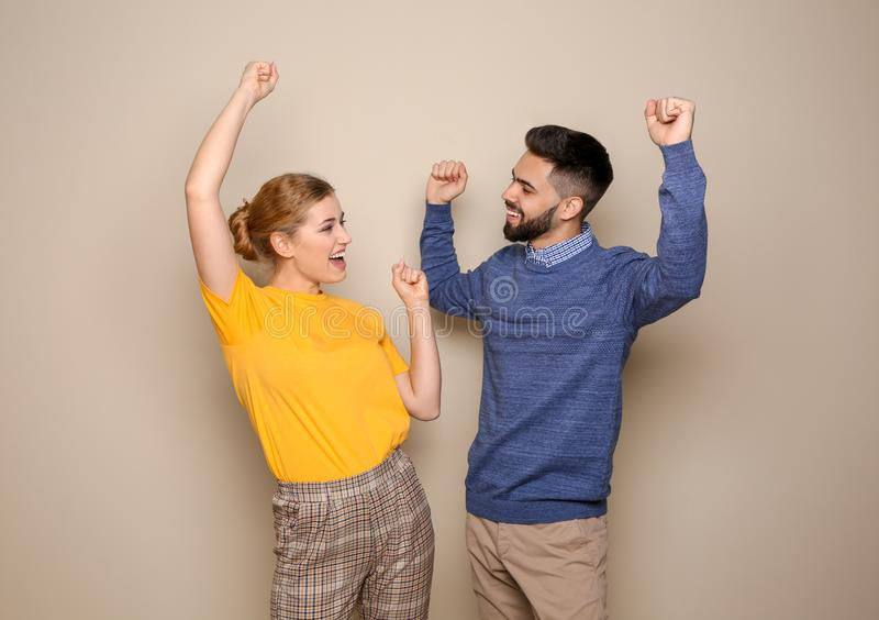Happy Young People Celebrating Victory Stock Image - Image ...
