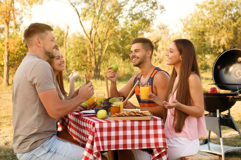 Happy young people having picnic at table royalty free stock images