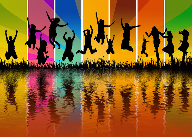 Happy young people jumping - water reflection stock illustration