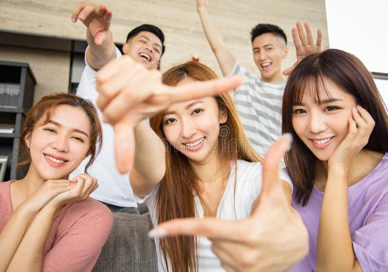Young people with looking and style gesture stock image