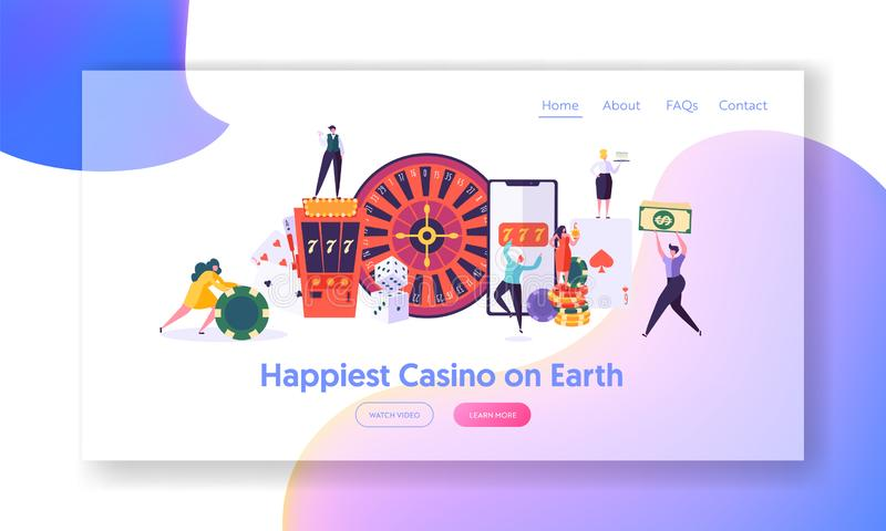 Happy Young People Play Roulette Landing Page. Winning Male and Female Character Hold Money Sign. Online Casino, Fortune stock illustration