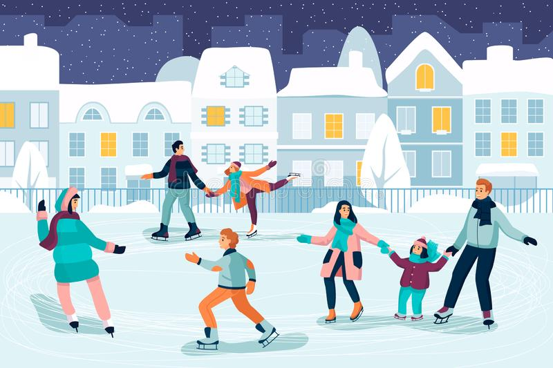 Happy young people skating. Couple, kids and family spend time on ice rink. Vector flat cartoon illustration vector illustration