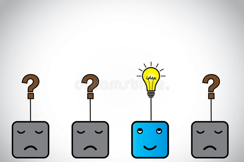Happy young person with idea light bulb & sad ones with question mark stock illustration