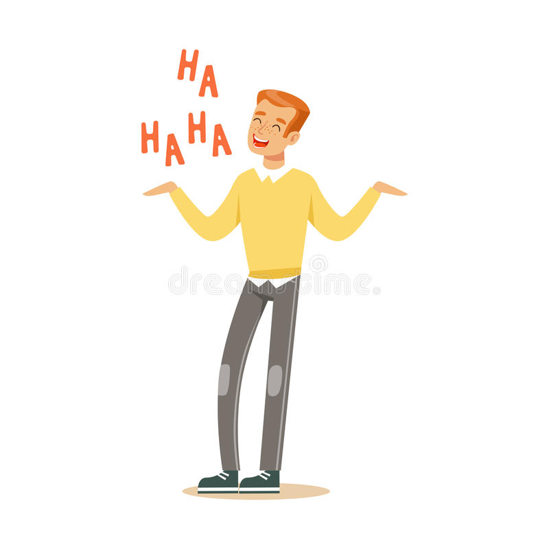 Happy young redhead man in an yellow pullover laughing out loud colorful character vector Illustration. On a white background stock illustration
