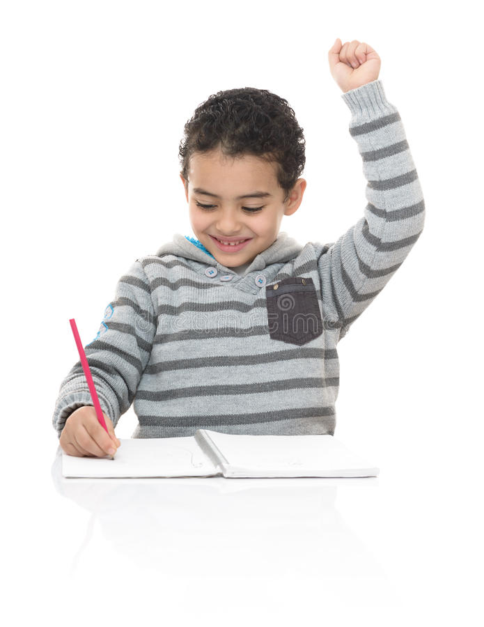 Happy Young School Boy Studying royalty free stock photo