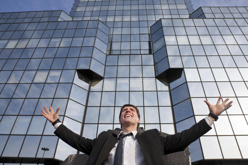 Happy Young Scuccessful  Businessman Stock Photo