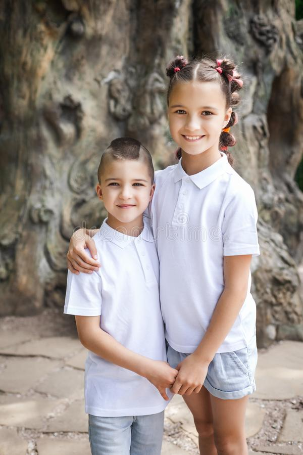 Happy young sister and brother royalty free stock photography