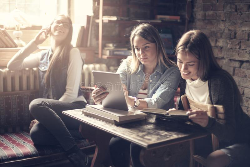 Happy smiling girls in library sitting together and studying. royalty free stock photo