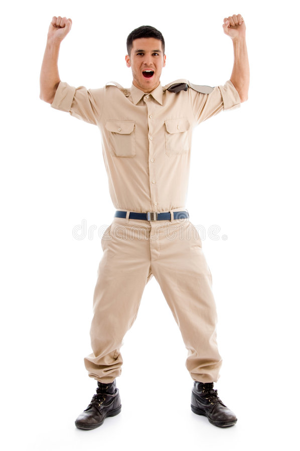 Happy young soldier. Against white background stock photos