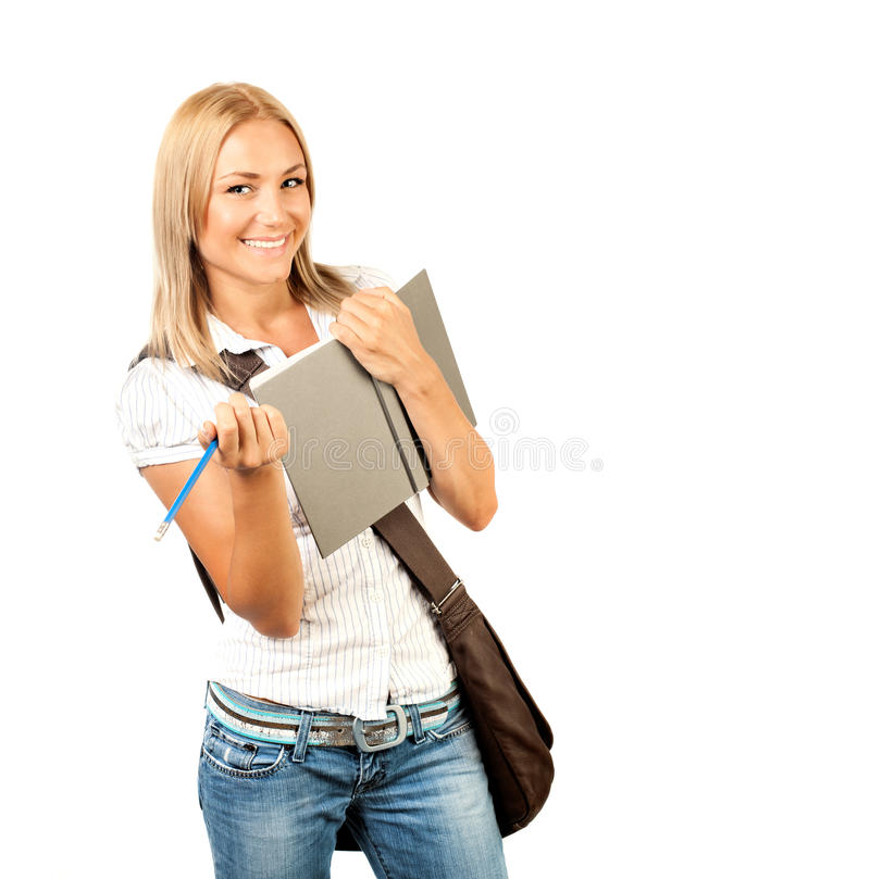 Happy young student girl. Holding books, high school or college graduand, cute casual teenager smiling, standing isolated on white background, studying at stock photos
