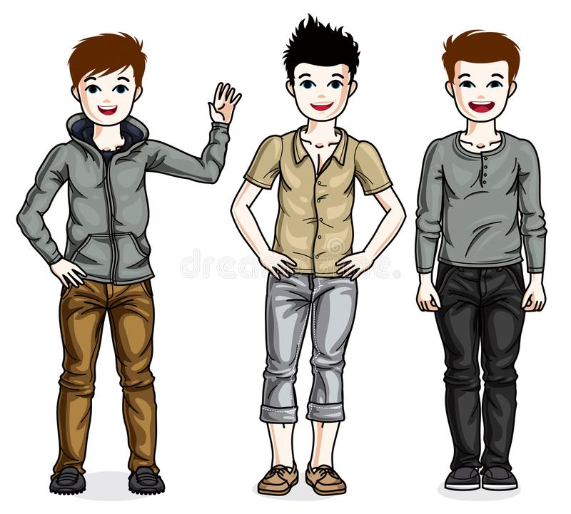 Happy young teenager boys posing in stylish casual clothes. Vector set of beautiful kids illustrations. royalty free illustration
