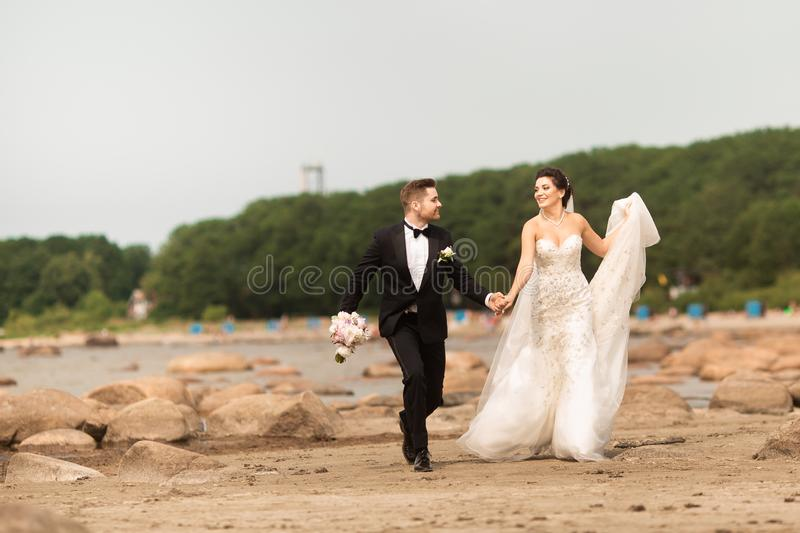 Happy young wedding couple having fun on the beach stock images